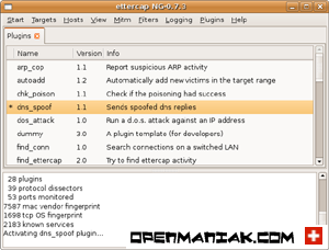 openmaniak ettercap  man in the middle attack dns_spoof line