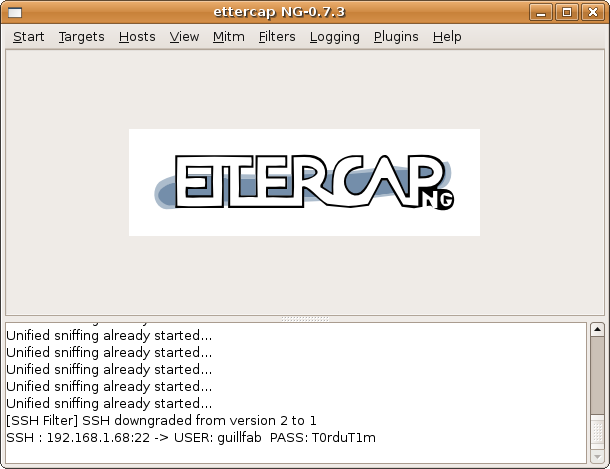 ettercap ssh1 downgrade filter credentials
