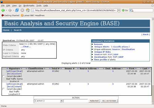 BASE base analysis and security engine snort_inline  Bad Traffic Same Src/Dst IP Loopback IP