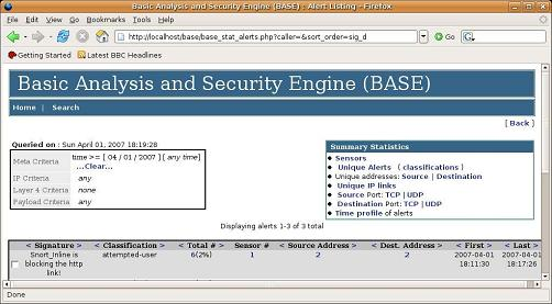 BASE base analysis and security engine snort_inline  Classification: Attempted User Privilege Gain