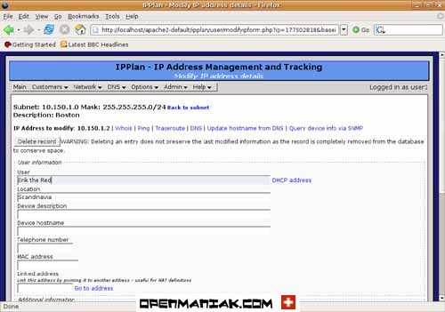 ipplan Details about an IP address