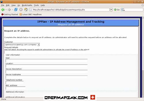ipplan The clients can request IP addresses