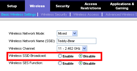linksys disable ssid broadcast mode