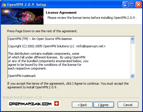 openmaniak openvpn installation wizard License agreement