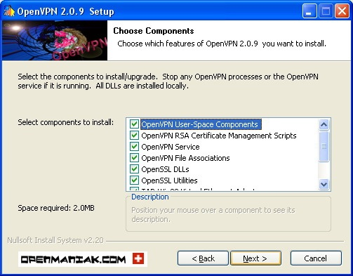 openmaniak openvpn installation wizard choose components