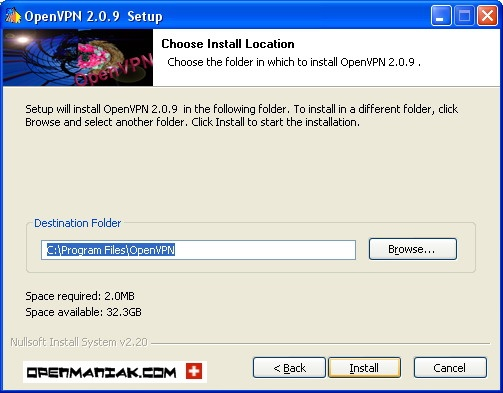 openmaniak openvpn installation wizard Choose install location