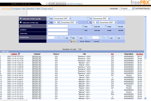 asterisk freepbx reports call logs voip voice