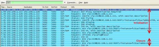 sip steps ack invite ringing OK bye 407 180 200 wireshark capture